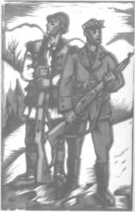 Плакат М. Бутовича, на якому зображено озброєних гвинтівками старшину та січовика в цивільному вбранні, які несуть прикордонну службу в горах, 1939 р.