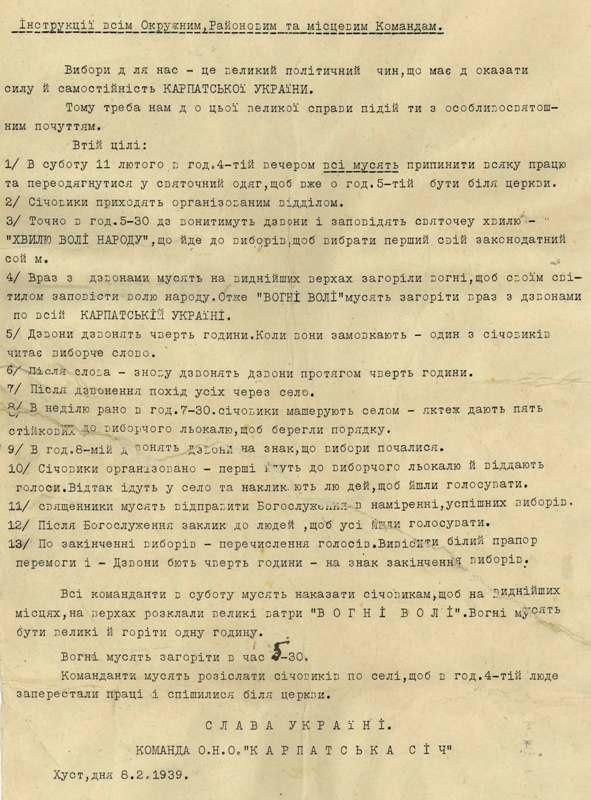 Інструкція щодо організацій виборів до сейму Карпатської України