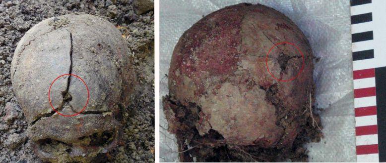 Сліди кульових поранень на черепних коробках загиблих