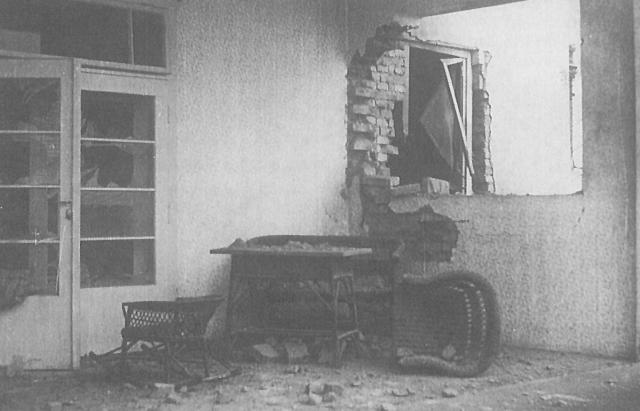 Один із мукачівських будинків, пошкоджений чеським артилерійським обстрілом 6 січня 1939 р.