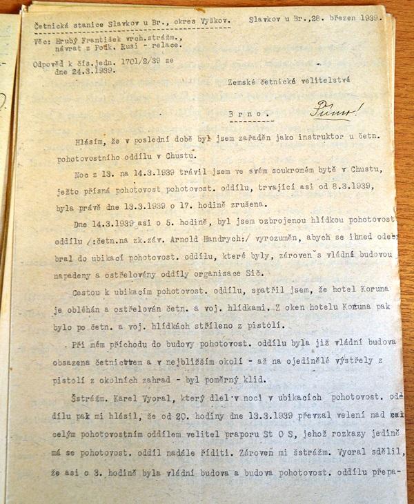 Свідчення жандарма Франтішека Грубого, 24 березня 1939