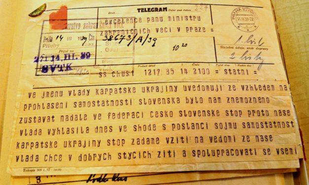 Телеграма А. Волошина у Прагу з повідомленням про проголошення незалежності Карпатської України