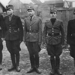 Члени Карпатської Січі в строю. Другий зліва Олександр Блистів (Гайдамака). Лютий-перша половина березня 1939 р. Хуст