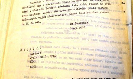 Запис розмови МЗС ЧСР із представником уряду Карпатської України у Празі В. Шандором