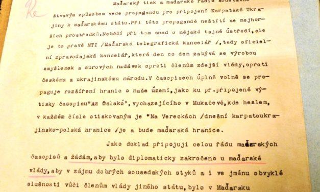 Лист прем'єр-міністра А. Волошина до МЗС Чехо-Словаччини щодо ведення Угорщиною агресивної пропаганди