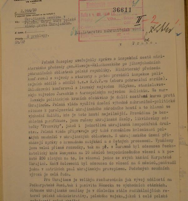 Донесення посольства ЧСР у Варшаві про загострення курсу польського уряду
